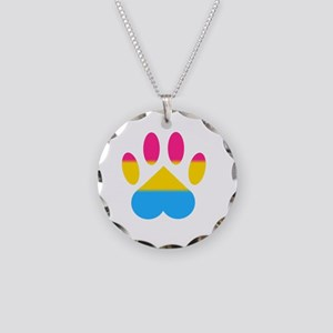 Pansexual Pride Paw Necklace Circle Charm
