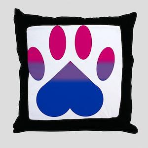 Bi Pride Paw Throw Pillow