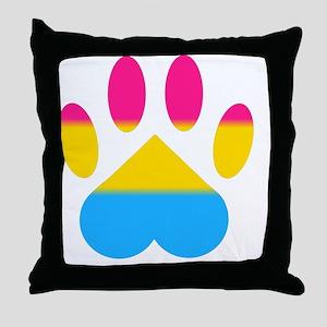 Pansexual Pride Paw Throw Pillow