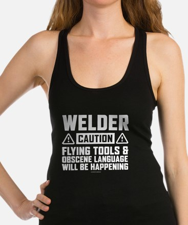 Caution Welder Racerback Tank Top