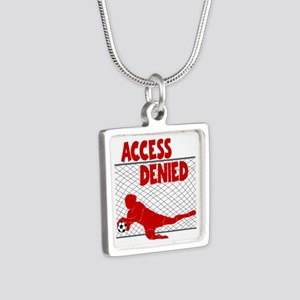 ACCESS DENIED Silver Square Necklace
