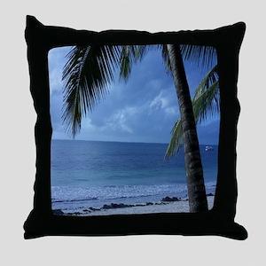 Palm Tree Beach Throw Pillow