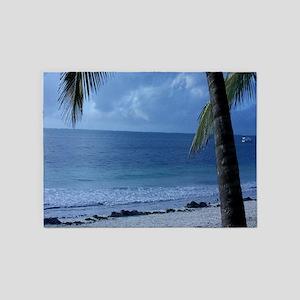 Palm Tree Beach 5'x7'Area Rug