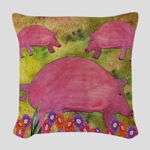 Pigs garden Woven Throw Pillow