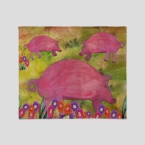 Pigs garden Throw Blanket