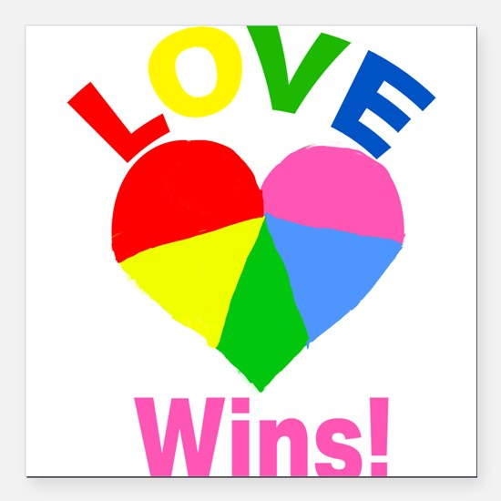 "Love Wins Square Car Magnet 3"" x 3"""