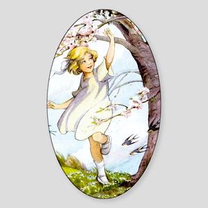 Girl Flowering Cherry Tree Art Sticker (Oval)