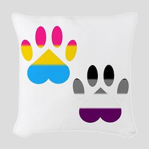 Panromantic Ace Pride Paws Woven Throw Pillow