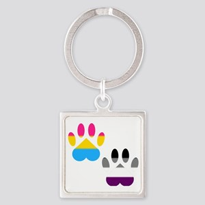 Panromantic Ace Pride Paws Square Keychain