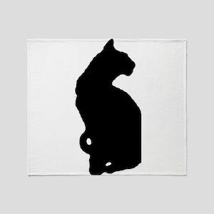 american shorthair silhouette Throw Blanket