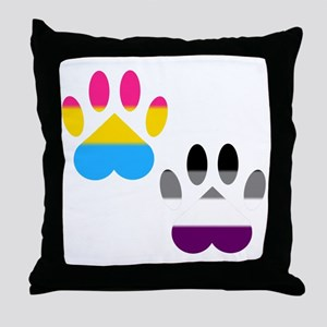 Panromantic Ace Pride Paws Throw Pillow