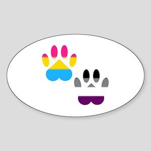 Panromantic Ace Pride Paws Sticker (Oval)