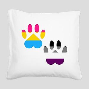Panromantic Ace Pride Paws Square Canvas Pillow