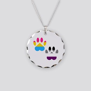 Panromantic Ace Pride Paws Necklace Circle Charm