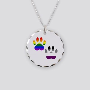Gay Ace Pride Paws Necklace Circle Charm