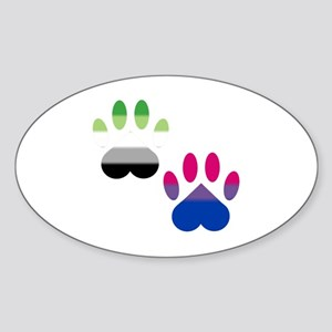 Bi Aro Pride Paws Sticker (Oval)