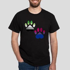Bi Aro Pride Paws Dark T-Shirt