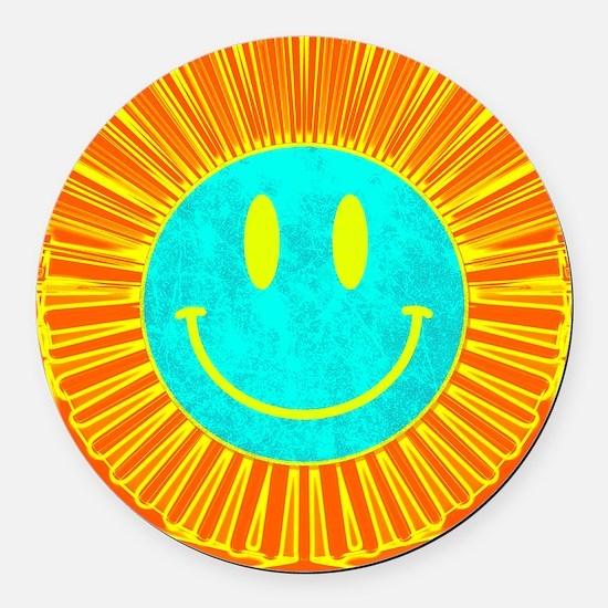 happy face lion Round Car Magnet