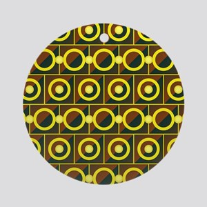 Tiled yellow circles Round Ornament