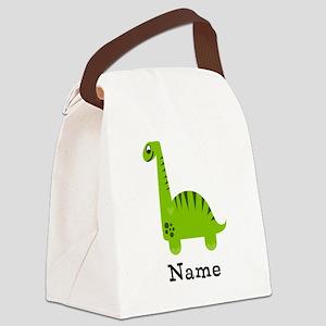 Green Dinosaur (p) Canvas Lunch Bag