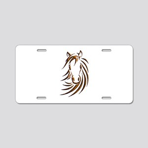 Brown Horse Head Aluminum License Plate