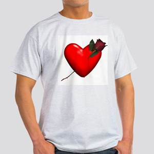 Rose Heart Tee Ash Grey T-Shirt