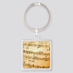 Music Sheet Square Keychain