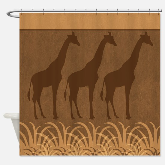 Three Giraffe Silhouettes Shower Curtain