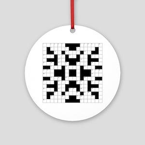 Cool Crossword Pattern Round Ornament