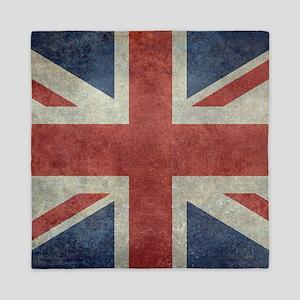 Union Jack flag - vintage retro style Queen Duvet