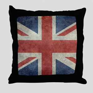 Union Jack flag - vintage retro style Throw Pillow