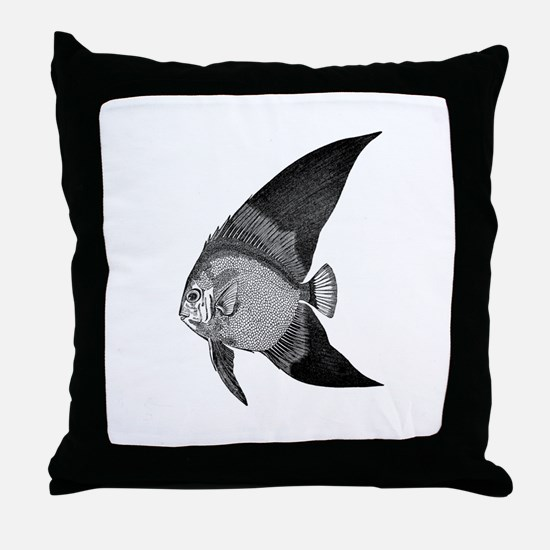 Vintage Angel Fish illustration Throw Pillow