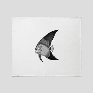 Vintage Angel Fish illustration Throw Blanket