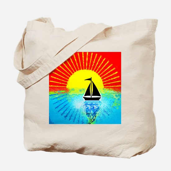 sky on fire sailboat Tote Bag