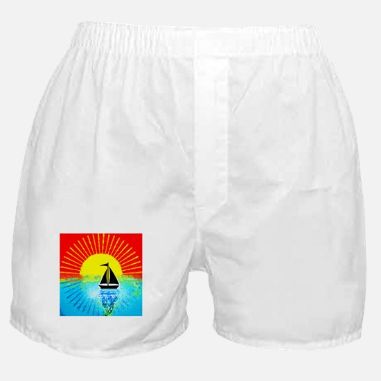 sky on fire sailboat Boxer Shorts