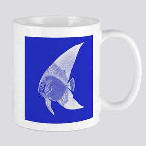 Dark Blue Tropical Fish Mugs