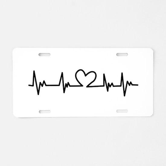 Heart Beat Aluminum License Plate