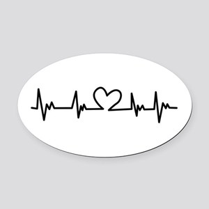 Heart Beat Oval Car Magnet