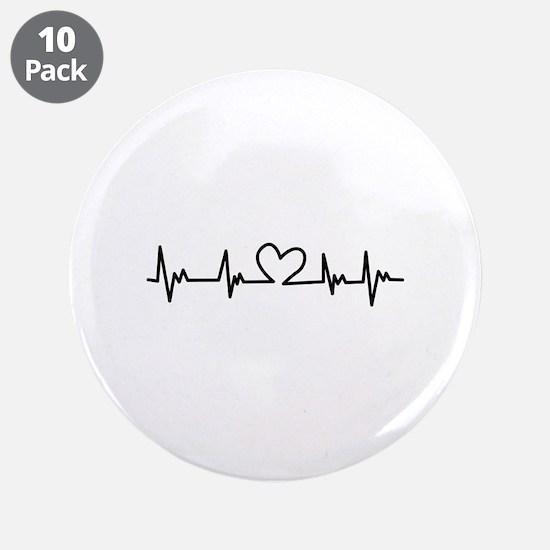 """Heart Beat 3.5"""" Button (10 pack)"""