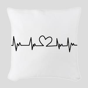 Heart Beat Woven Throw Pillow