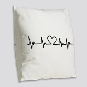 Heart Beat Burlap Throw Pillow
