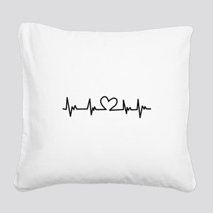 Heart Beat Square Canvas Pillow