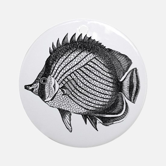 Black and white Exotic Fish Ornament (Round)