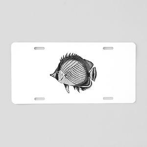 Black and white Exotic Fish Aluminum License Plate