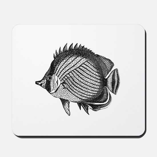 Black and white Exotic Fish Mousepad