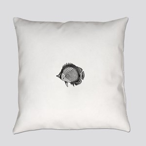 Black and white Exotic Fish Everyday Pillow
