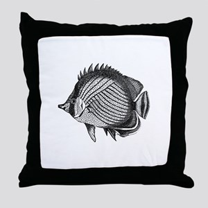 Black and white Exotic Fish Throw Pillow