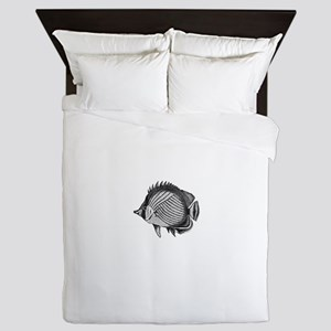 Black and white Exotic Fish Queen Duvet