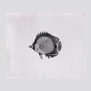Black and white Exotic Fish Throw Blanket