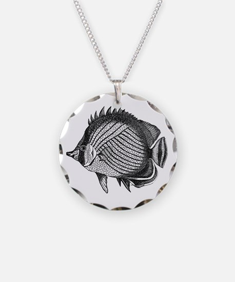 Black and white Exotic Fish Necklace